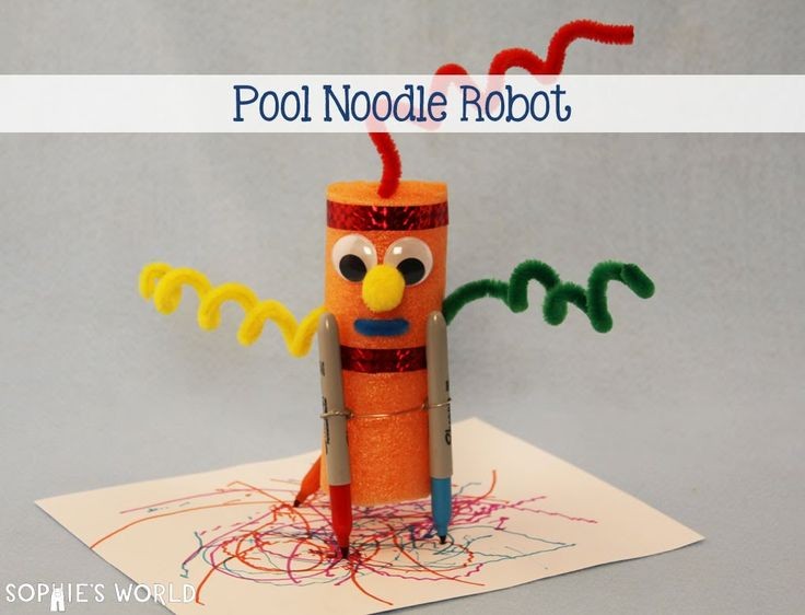 Cheap and Easy Pool Noodle Art Bot - Chef Daddy  |Art Bot Pool Noodle