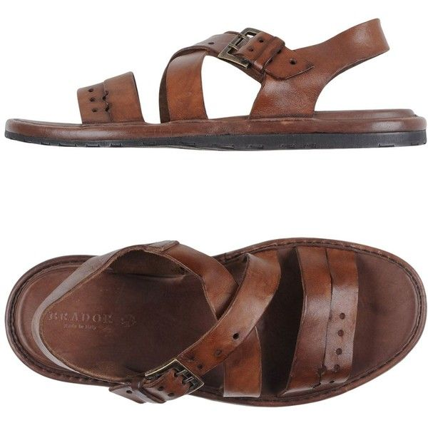 Brador Sandals ($178) ❤ liked on Polyvore featuring men's fashion, men's shoes, men's sandals, cocoa, mens leather shoes, mens leather sandals, mens leather buckle sandals and mens buckle shoes