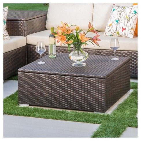Santa Rosa Wicker Rectangle Coffee Table Multibrown Christopher Knight Home Outdoor Coffee Tables Wicker Coffee Table Outdoor Wicker