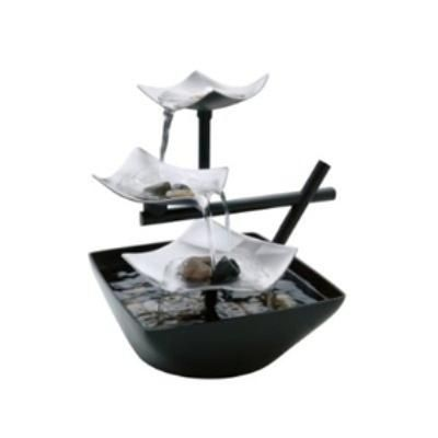 Illuminated Silver Water Springs Relaxing Table Fountain with Stones- Free Shipping