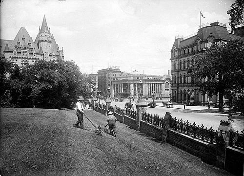 Getting ready for Dominion (now Canada) Day ca. 1915. Ottawa, Ontario.