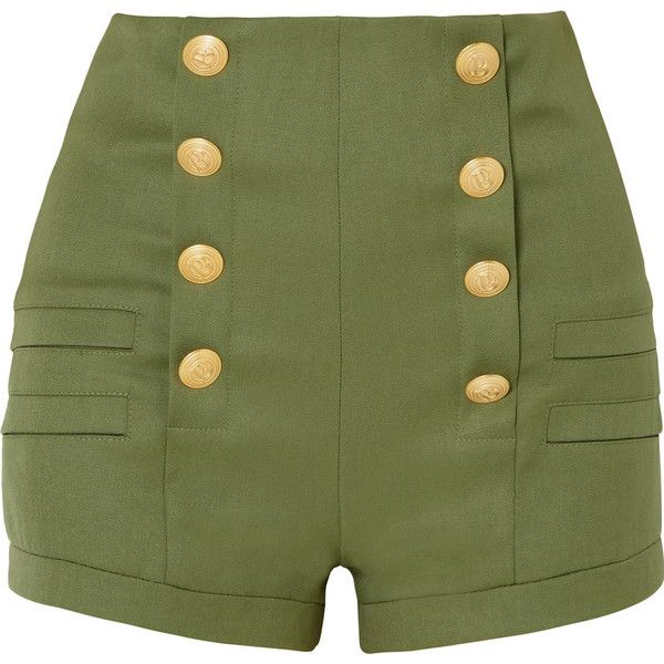 Pierre Balmain Grain de poudre wool shorts ($565) ❤ liked on Polyvore featuring shorts, pants, army green, zip shorts, zipper shorts, olive green shorts, high-waisted shorts and high waisted zipper shorts