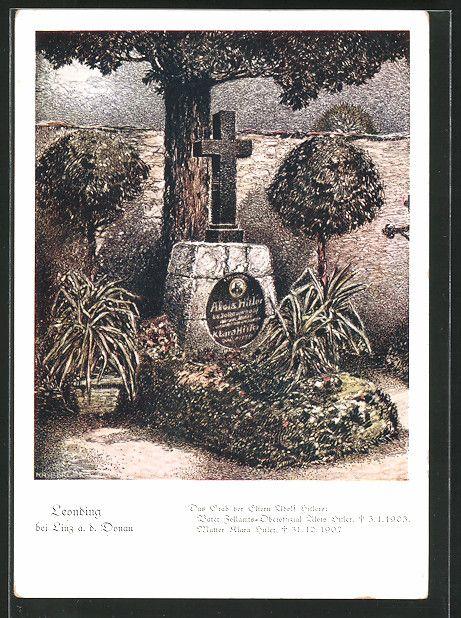 old postcard: Künstler-AK Leonding, Grab der Eltern des Führers Adolf Hitler, Alois Hitler & Klara Hitler