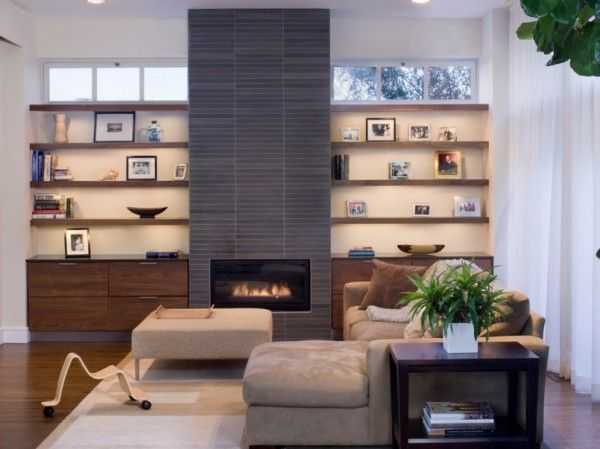 Fireplace with shelves