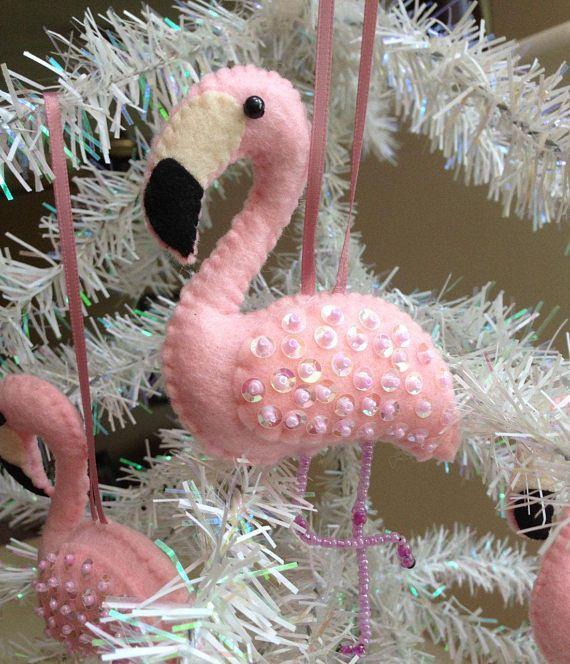 Felt Pink Flamingo Christmas Ornament  Beaded Legs  Sequined