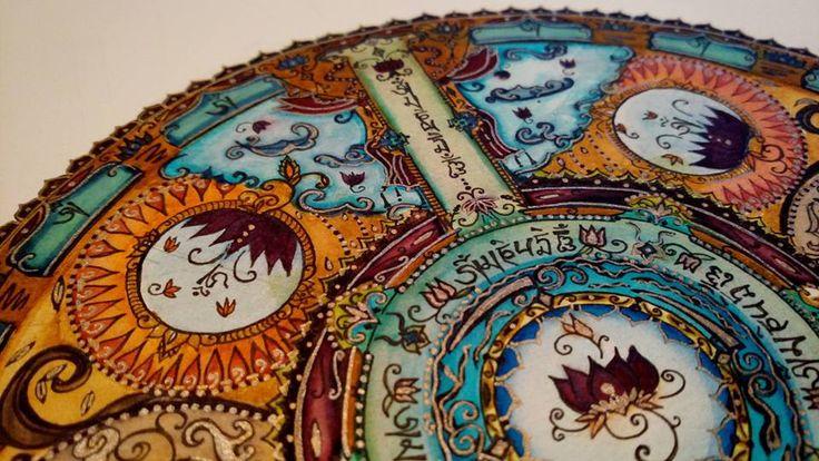 Mandala Om mani padme hum Marvy for drawing 0.1 and Lyra aqua brush duo Mandala design