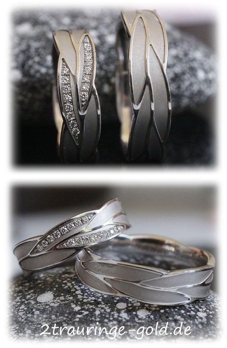 Ausgefallene Eheringe Mit 16 Diamanten Poliert Und Matt Im220 Ausgefallene Eheringe Eheringe Männer Ringe