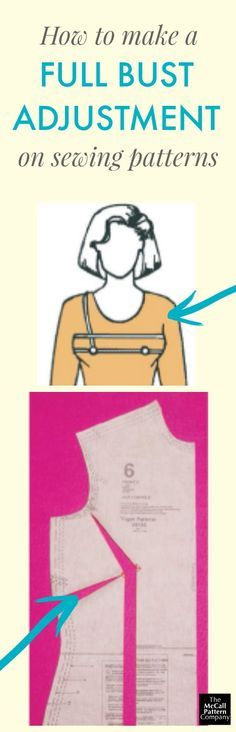 How to make a full bust adjustment (FBA) to sewing patterns. Downloadable PDF article from Vogue Patterns Magazine.