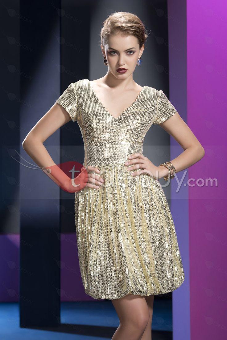 ゴージャスなスパンコールジッパーアップラインショートVネック半袖イブニングドレス