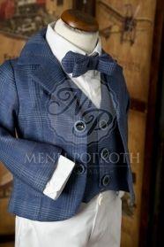 Μένη Ρογκότη - Βαπτιστικά ρούχα για αγόρι της Angel Wings καρό μπλε και λευκό