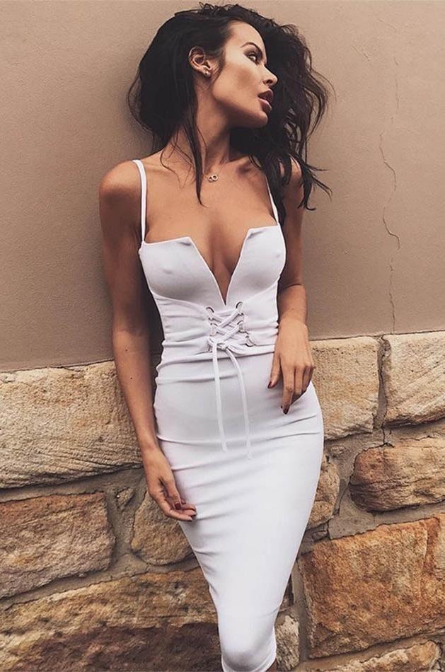 Mia Corset Accent Bandage Dress - White, Apricot Blush, or Red