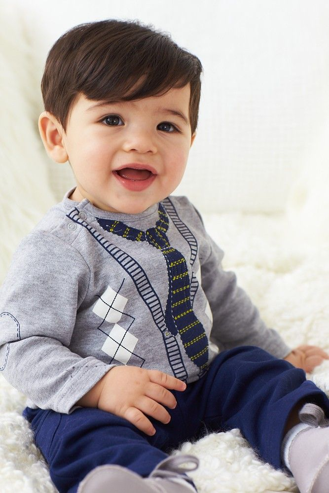 Dashing Dachshund Tie 2 Piece Pant Set - a faux baby tie will have baby looking like a little gentleman