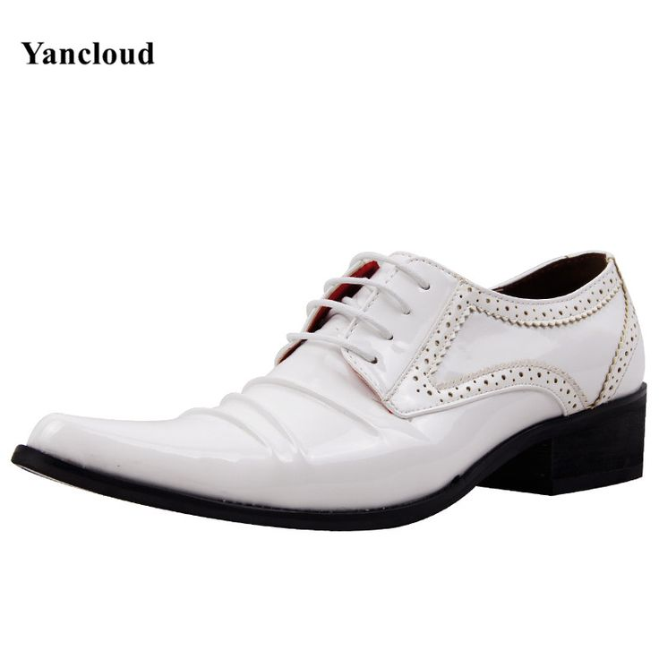 >> Click to Buy << Brogue Style Mens Pointed Toe Dress Shoes 2016 Platform Oxford Shoes for Men Height Increase White Wedding Shoes Work Shoe #Affiliate