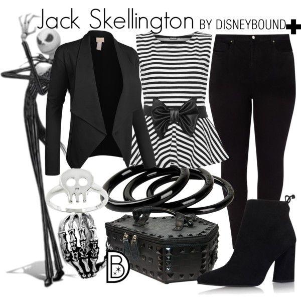 Jack Skellington + by leslieakay on Polyvore featuring WearAll, Studio 8, Stuart Weitzman, Kreepsville 666, Furla, Eternally Haute, Halloween, disney, disneybound and plussize