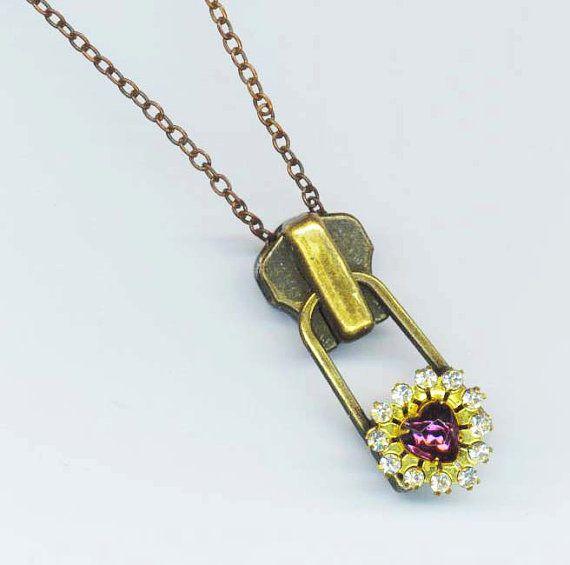 Metal Zipper Pendant . Large Zipper Women by enchantedbeas on Etsy, $15.00