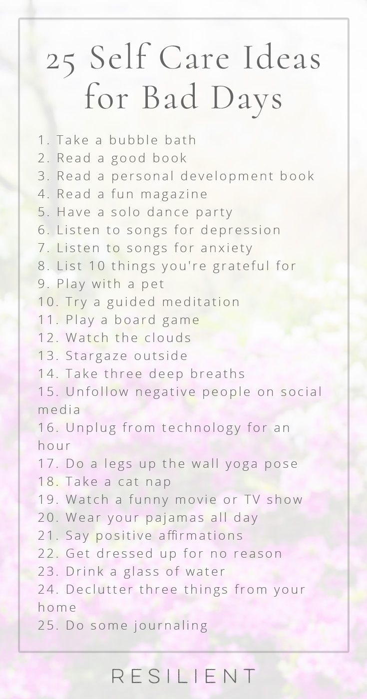 When bad days strike, it's nice to have a list of self care ideas you can pull out to help make things a little better, or even to proactively keep up with self care so you feel better in general. Here are 25 self care ideas for bad days. Feel free to bookmark this page for future reference! #selfcare #selfcareideas