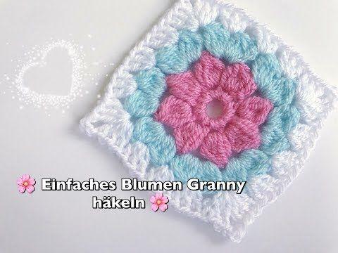 EINFACHES Blumen Granny Square häkeln super für Anfänger geeignet - YouTube