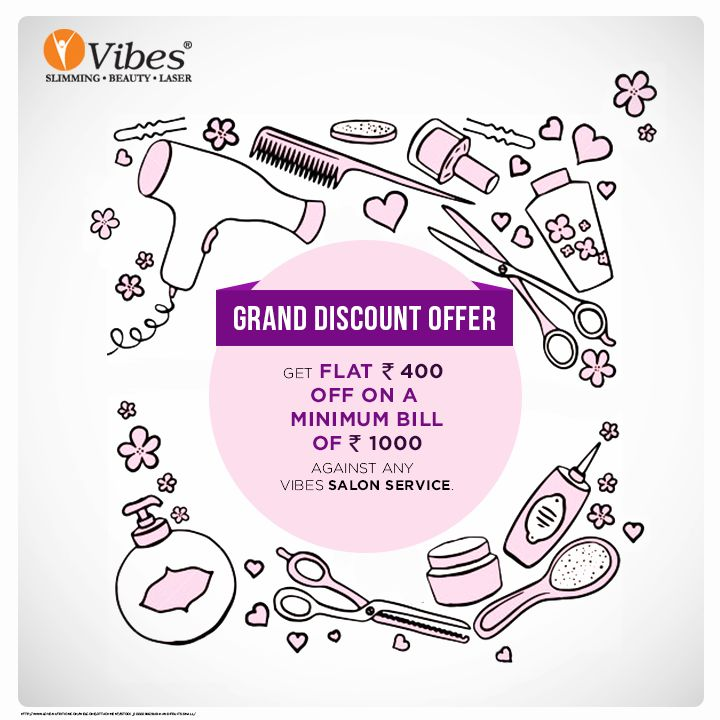 Book your appointment today and avail Rs. 400 discount on a minimum bill of Rs. 1000  with any #Vibes #Salon Services. #Beauty #Bonanza #Salon #Offer #Discount #Voucher