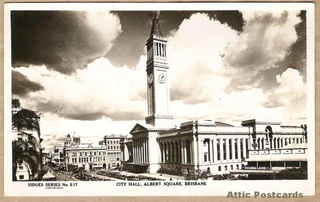 Vintage real photo postcard of City Hall and Albert Square in Brisbane, Queensland, Australia.