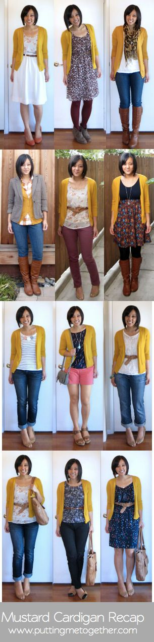I like most of these outfits a lot. I'm hoping to put together a fall capsule wardrobe for travel. I don't like the yellow color of the mustard sweater or animal print scarf. I like longer shirts with form fitting/tight pants and comfortable and workable for chilly weather are musts- c Recap: Mustard Cardigan | #PuttingMeTogether #Fashion #FashionAdvice