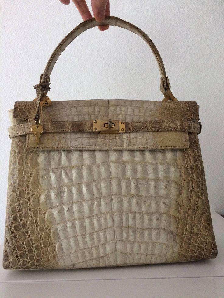 "Beautiful vintage beige handbag ""model Hermès Birkin bag"". by MORETHANVINTAGENL on Etsy"