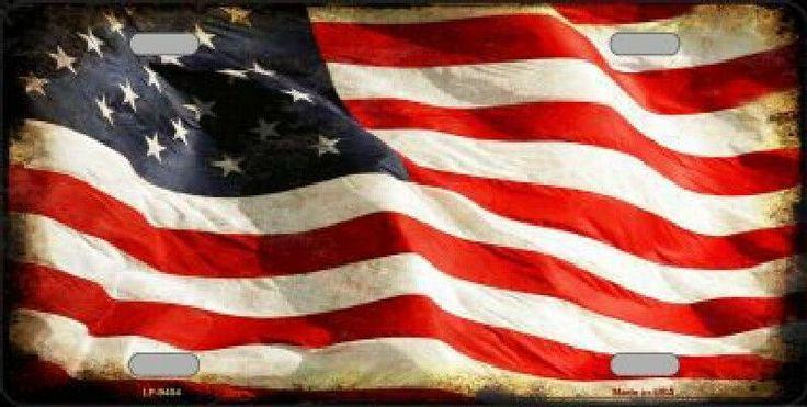 Vintage  American Flag Waving Tag License Plate