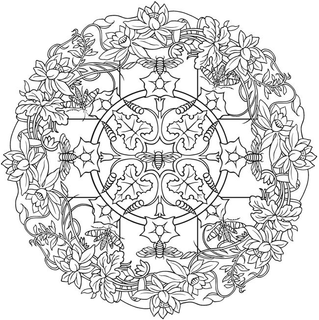 Nature Mandalas Sample Coloring Page Dover