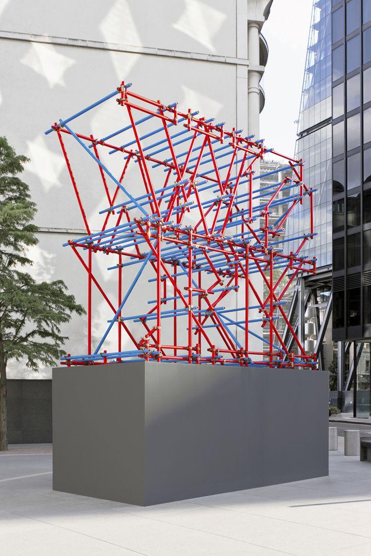 Ben Long Work Scaffolding Sculpture Gherkin threequarter #grafica #design #allestimenti