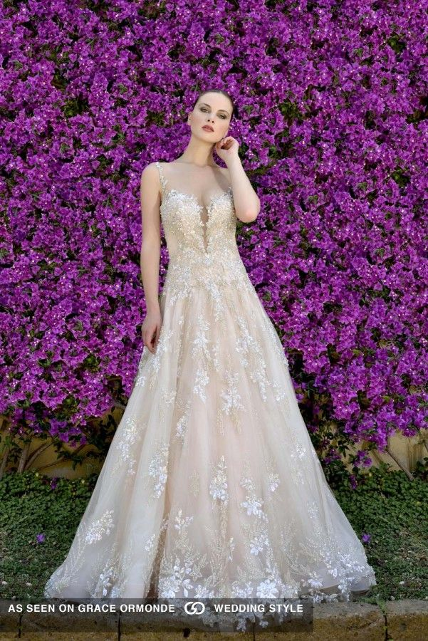 Ysa Makino Plunging Neckline Embroidered Tulle Wedding