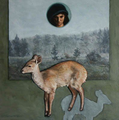 Sapphos Guarding oil paint on wood panel 250x250mm by DP Ferreira
