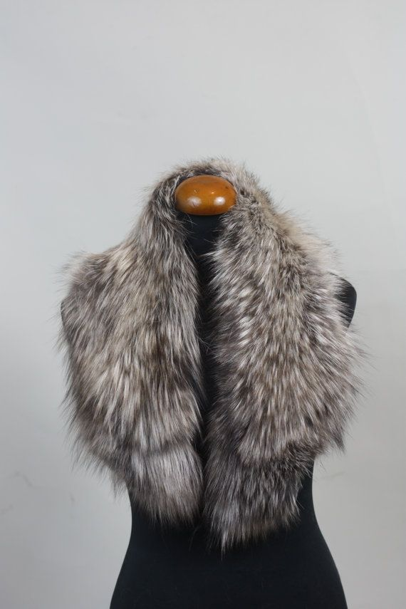 Luxury gift/Fox Fur/ Grey brown Collar  Women's/wedding by skffurs