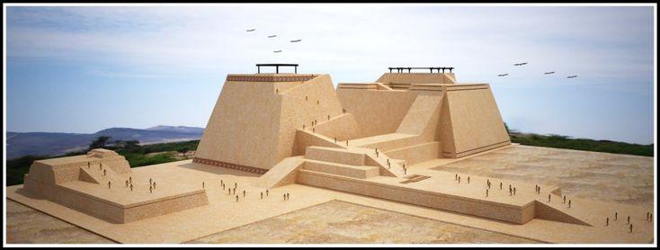 113/ PÉRIODE INTER. ANCIENNE / MOCHE. Huaca Rajada, Sipán. moitié nord. C'est un site très connu car il est à l'origine du plus important pillage. Aujourd'hui d'autres structures ont été découvertes. La structure est en adobe, présente différentes étapes de construction. Entre ont été réalisées des inhumations de personnages de très haut rang. Les fouilles ont permis de découvrir ces sépultures d'une richesse inouïe. C'est en effet le territoire Mochica le plus fertile.