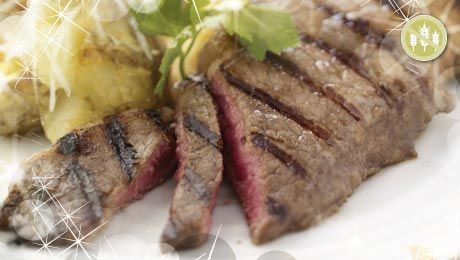 Balsamic Steak with Crushed Baby Potatoes and Roasted Root Vegetables