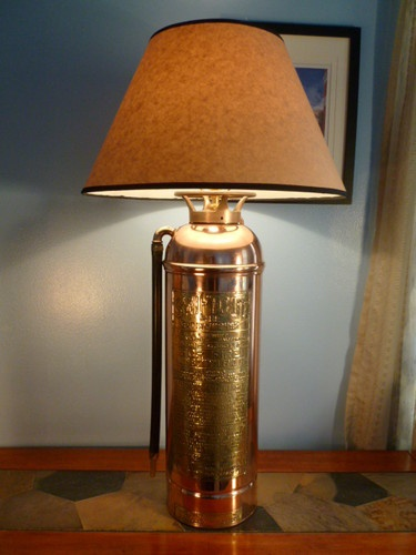 Vintage Swiftout Copper Brass Fire Extinguisher Lamp W