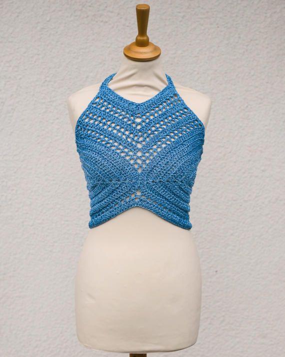 Crochet crop top Halter Top Boho Crop Top by AnnaHandmadeknitwear