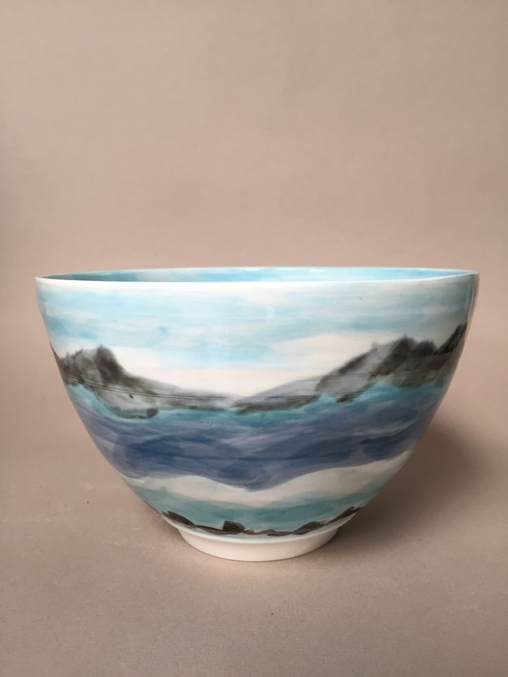 Lynda-Anne Raubenheimer - porcelain bowl with underglaze decoration and transparent glaze. Landscape inspiration. - this bowl is with Kate in England