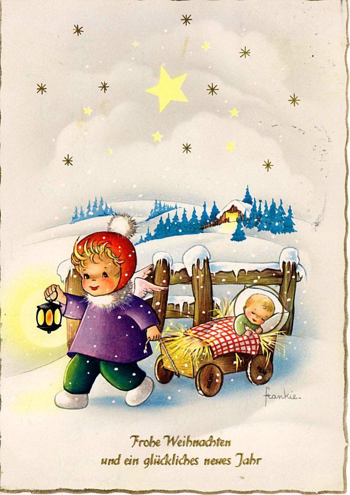 AK - Weihnachten - frankie - Jesuskind im Bollerwagen, 1963