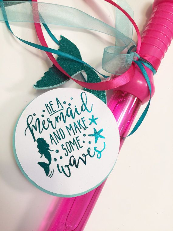 Mermaid Birthday Favor Tags Custom Mermaid by PaperedDelight