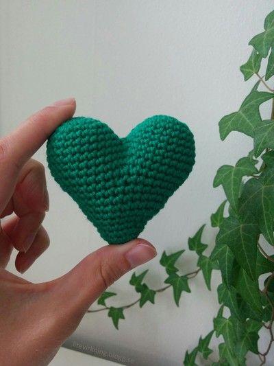 LiteVirkning - Virka ett grönt hjärta (crochet)
