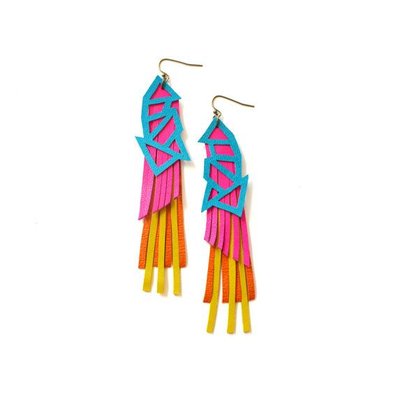 Geometric Earrings, Hot Pink Leather Earrings, Neon Jewelry, Triangle Color Block in Turquoise Yellow and Orange on Etsy, $44.00