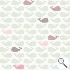 Hip, origineel kinderkamer behang. Bestel nu rechtstreeks bij de ontwerper!  Behang met walvisjes roze groen