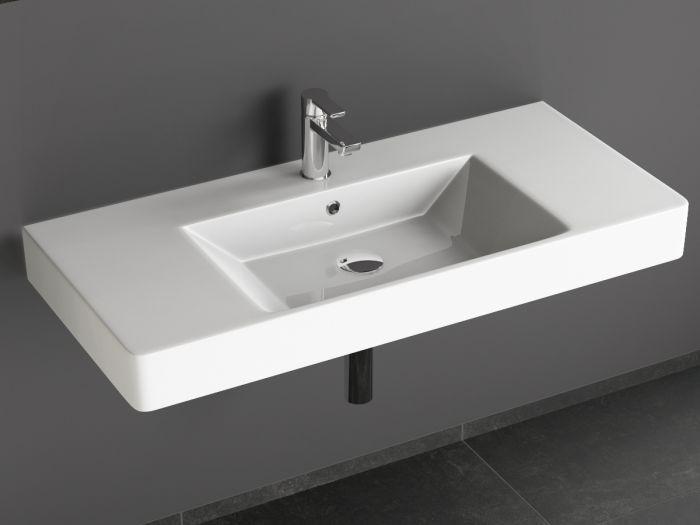 Aqua Bagno Quadra Soft Keramik Waschtisch 90cm Weiß.