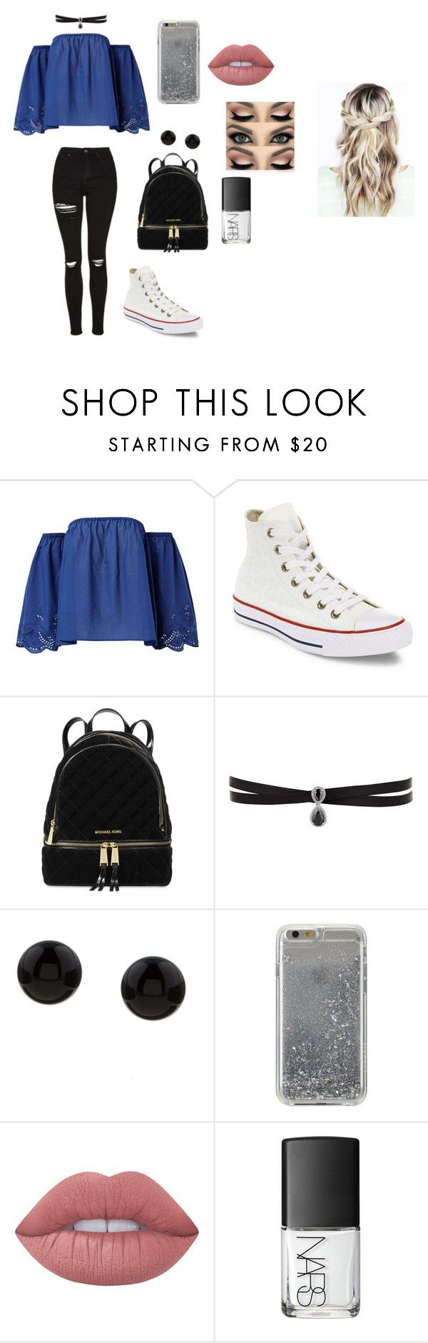 """casual"" by arisofia on Polyvore featuring moda, Converse, Michael Kors, Fallon, Kabella Jewelry, Agent 18, Lime Crime y NARS Cosmetics"