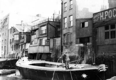 A lighterman on the waterfront at Rotherhithe Street.