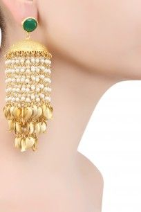 Gold Finish Pearl Chandelier Earrings #gold #Patterns #intricate pearl…