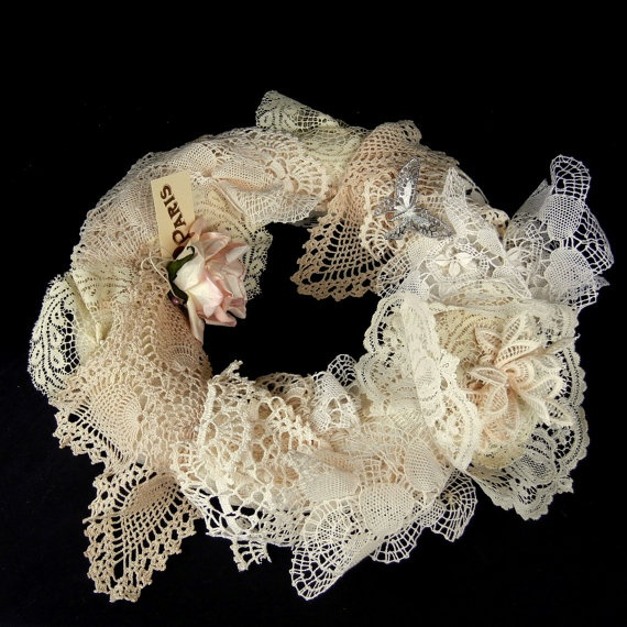 "Precious Crocheted and Lace VINTAGE HANKERCHIEF WREATH with Pink Flower Accents and a Victorian Look 14"":"