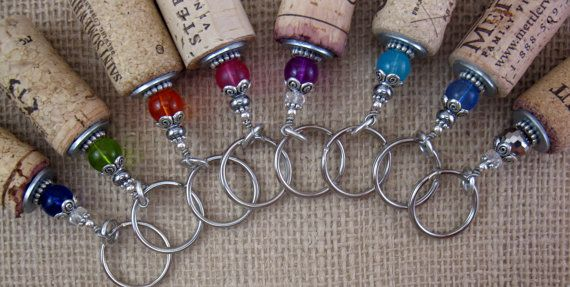 Beaded Genuine Upcycled Wine Cork Keychain-Great for Boaters and Swimmers-It Floats on Etsy, $8.50