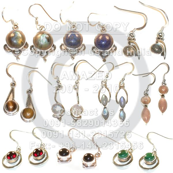 Indian handmade 92.5 Sterling Silver Hallmarked Certified Wholesale natural semi precious studded beautiful handcrafted Earring Multi stones.Our Price80 $USD