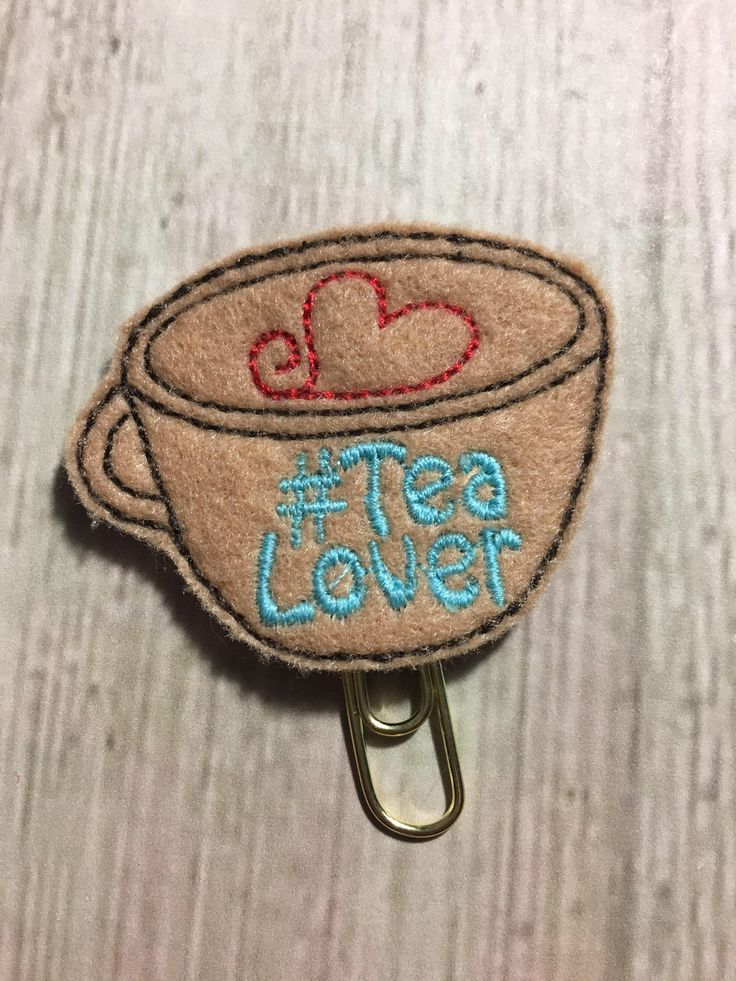 Excited to share the latest addition to my #etsy shop: Planner clip, tea lover bookmark, tea lover, planner accessories, feltie bookmark, paper clip, journal clip, travellers notebook clips,