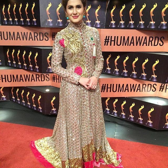 #KubraKhan is beautiful in #HoneyWaqar on the red carpet for the #HumStyleAwards2017 @thekubism @honeywaqarofficial @humstyleawards #thepakistanibride